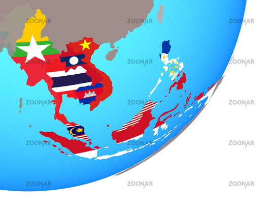 Map of ASEAN memeber states with flag on globe