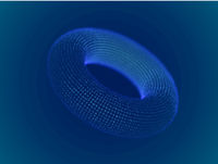 Cyber space concept: 3d digital torus consisting of glowing particles.