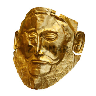 The golden funeral mask of Agamemnon isolated on white
