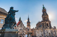 Dresden Germany, city skyline at Dresden Cathedral