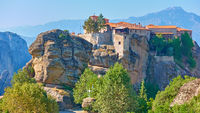 Greek landscape with The Holy Monastery of Varlaam in Meteora