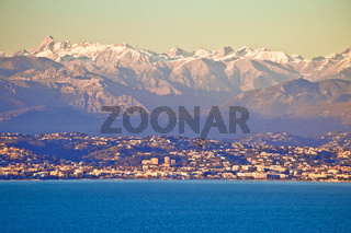 French Alps snow peaks view from Cap Antibes