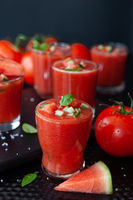 Cold gazpacho with tomato and water melon