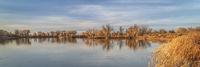calm lake in fall scenery