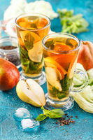 Ice tea with mint leaves and pear
