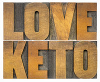 love keto word abstract in wood type