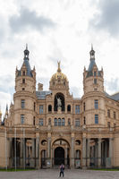 Front view at famous Schwerin Castle, seat of parliament of Mecklenburg-Western Pomerania in Schwerin, Germany.