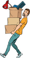 man with boxes moving