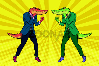 A fight between two businessmen crocodiles. Competition concept