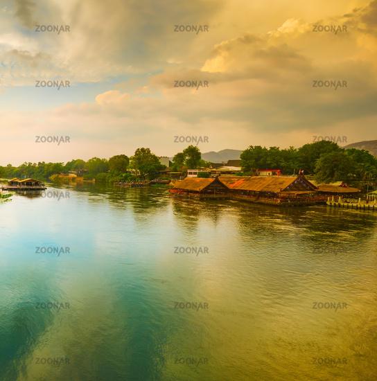 Sunset over Kwai river, Kanchanaburi, Thailand.