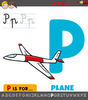 letter P worksheet with cartoon plane