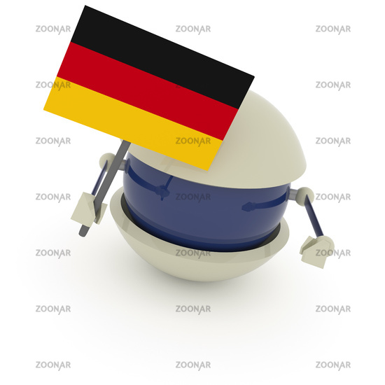 Cute robot sphere with German flag