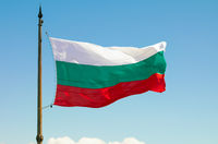 The Bulgarian Flag over the Memorial of Liberty Shipka, Gabrovo, Bulgaria. The national flag of Bulg
