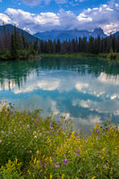 Mount Lougheed and the Bow River in the Canadian Rocky Mountains near Canmore, Alberta
