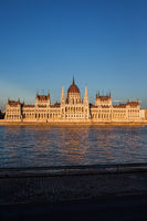 Hungarian Parliament Building at Sunset in Budapest
