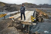 Broken bridge over a river in Iceland