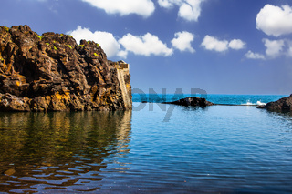 Calm bay with azure water