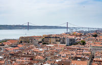 Panorama over the rooftops of Lisbon in Portugal