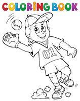 Coloring book baseball player theme 1