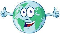 earth cartoon character earth day mascot thumbs up
