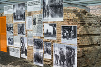 Pictures from the second world war at the Topography of Terror (German: Topographie des Terrors) outdoor  exhibition  at the Berlin Wall