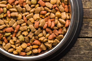 Dry pet food. Dry kibble food.
