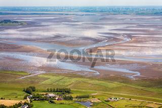 St. Peter-Ording, Luftbild vom Schleswig-Holsteinischen Nationalpark Wattenmeer