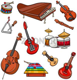 musical instruments cartoon illustration set