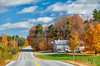 Highway at sunny autumn day