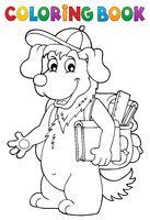 Coloring book school dog theme 1