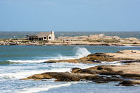 Punta del Diablo Beach, popular tourist site and Fisherman's place in the Uruguay Coast