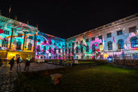 The Humboldt University (main building) in colored illuminations. Festival of lights 2018