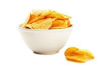Potato chips on bowl