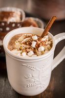 Hot chocolate with whipped cream and cookies for Christmas