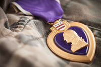 Military Purple Heart Metal Resting On Camouflage Fatigues