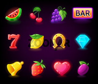 Colorful slots icon set for casino slot machine, gambling games