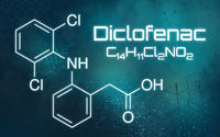 Chemical formula of Diclofenac on a futuristic background