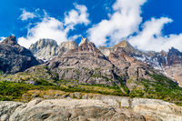 Natural landscape with beautiful mountains on the shore of Grey Lake at Torres del Paine National Pa