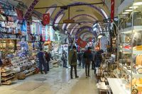 Istanbul, Turkey - March 25, 2019: Grand Bazaar in Istanbul, Turkey, one of the largest and oldest covered markets in the world KAPALICARSI, Istanbul, Turkey