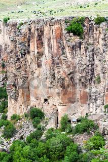 rocky slope of Ihlara Valley in Cappadocia
