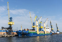 cargo ship, cranes, overseas port, Wismar, Mecklenburg-Western Pomerania, Germany, Europe