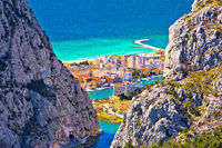 Town of Omis view through Cetina river Canyon