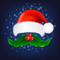 Christmas Card With Moustaches And Santa Claus Cap