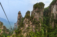 Cableway in Tianzi Avatar mountains nature park - Wulingyuan China