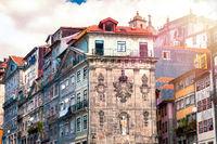 Historical buildings of the old center of Porto at Praça da Ribeira