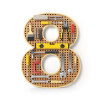 Number 8 eight. Alphabet from the tools on the metal pegboard isolated on white.