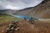 Chandra Taal or Chandra Tal lake, Spiti, Himachal Pradesh, India