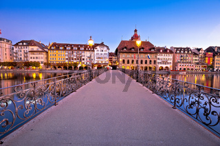 Luzern dawn view of famous landmarks and Reuss river