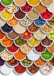 Fruits and vegetables food spices ingredients portrait format berries from above