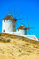 Old traditional windmillls in Mykonos